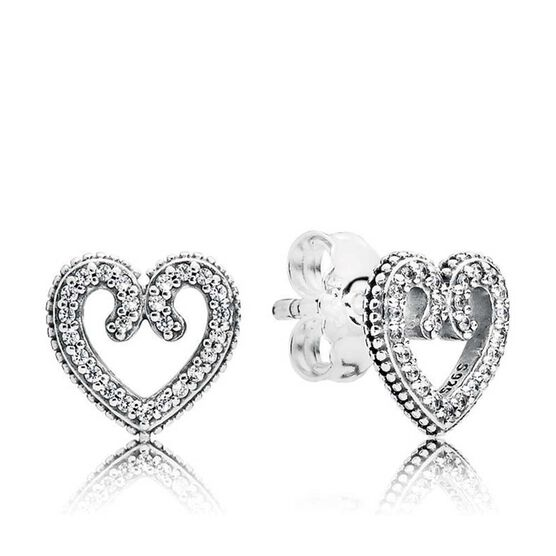 Pandora Heart Swirls CZ Stud Earrings