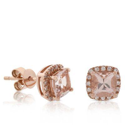 Rose Gold Morganite & Diamond Stud Earrings 14K