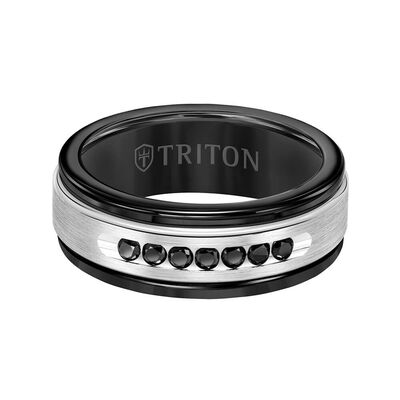 TRITON Stone Custom Contemporary Comfort Fit Black Diamond Band in Black Tungsten & 14K, 8 mm