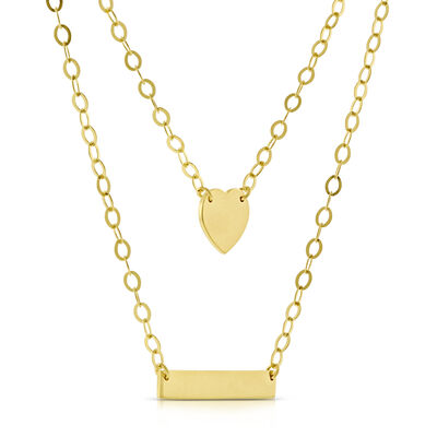 Duet Bar Heart Necklace 14K