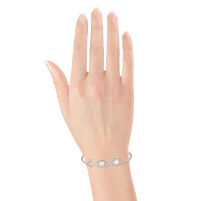 Lisa Bridge Bezel Set Rose Quartz XOXO Bracelet