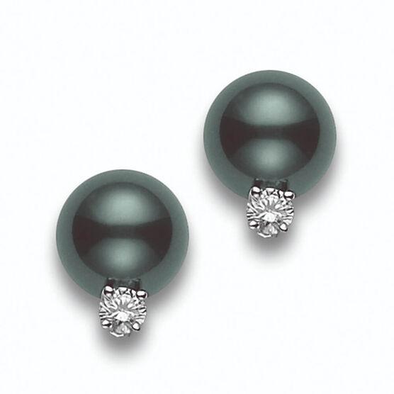 Mikimoto Black South Sea Cultured Pearl & Diamond Stud Earrings 18K
