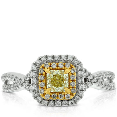 Yellow Diamond Engagement Ring 14K