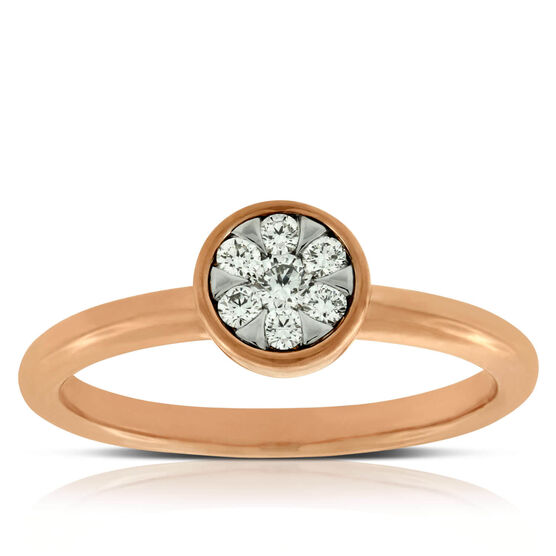 Rose Gold Cluster Ring 14K