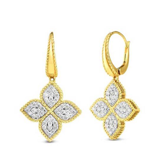 Roberto Coin Princess Medium Flower Diamond Dangle Earrings 18K