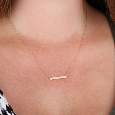 Ikuma Canadian Diamond Bar Necklace in 14K Rose Gold