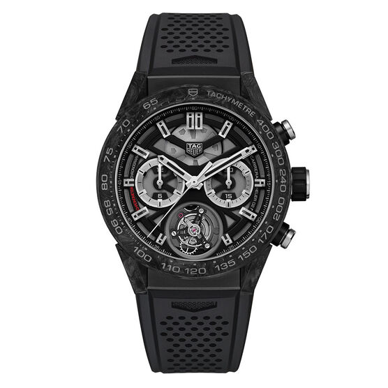 TAG Heuer Carrera Heuer 02T Tourbillon COSC Black Automatic Chrono Watch, 45mm