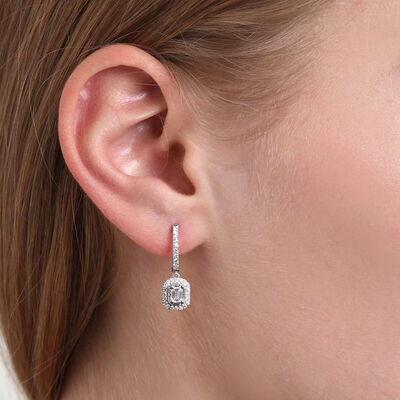 Diamond Halo Drop Earring 14K