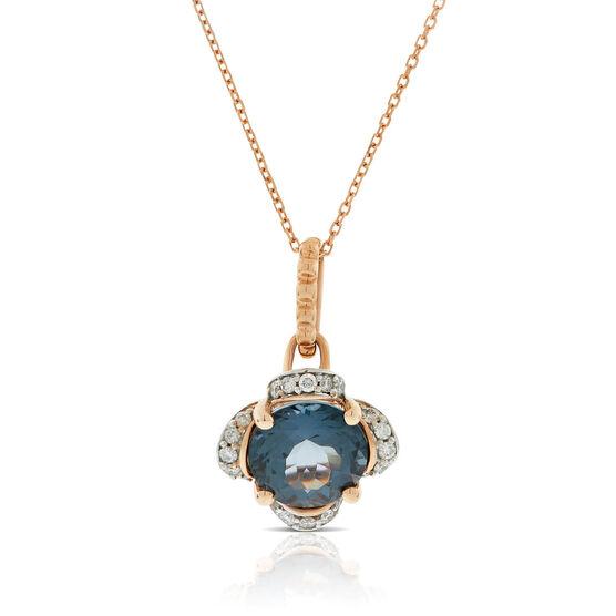 Rose Gold Gray Spinel & Diamond Flower Necklace 14K