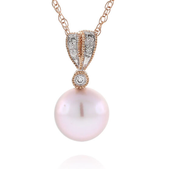 Rose Gold Freshwater Cultured Pearl & Diamond Pendant 14K