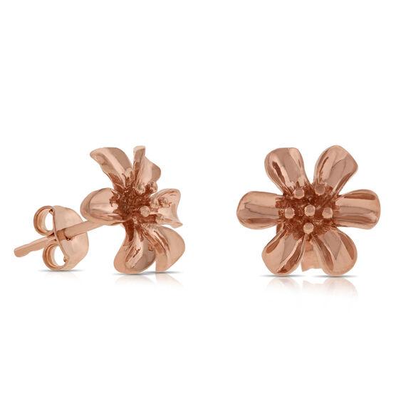 Rose Gold Flower Earrings 14K