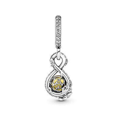 Pandora Disney Belle Infinity & Rose Flower Crystal Pendant