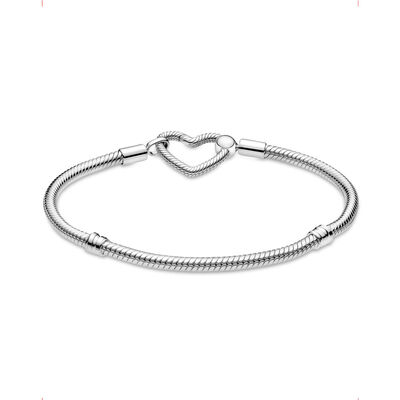 Pandora Moments Heart Closure Snake Chain Bracelet