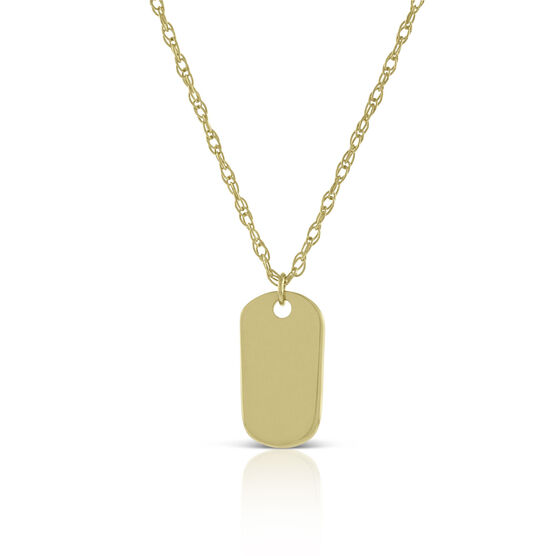 Mini Dog Tag Pendant 14K