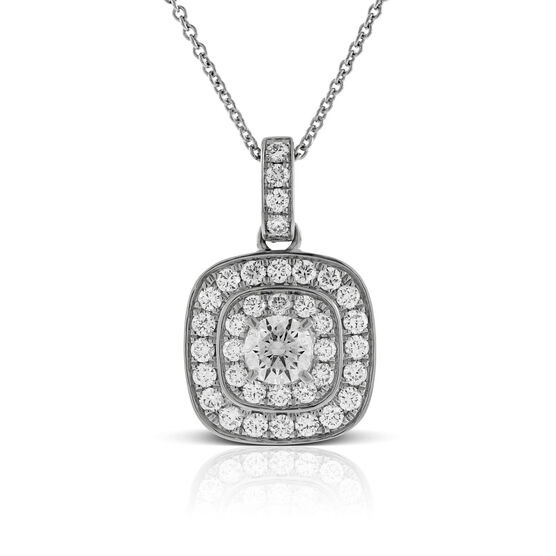 Double Halo Diamond Pendant 14K