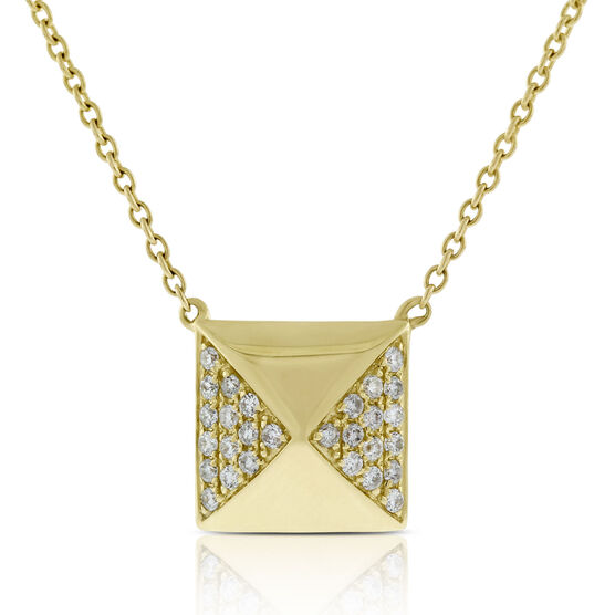 Diamond Pyramid Necklace 14K