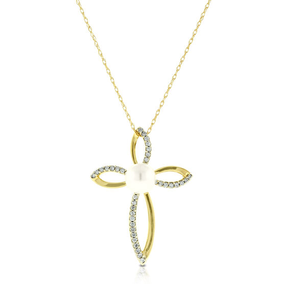 Cultured Pearl & Diamond Cross Pendant 14K