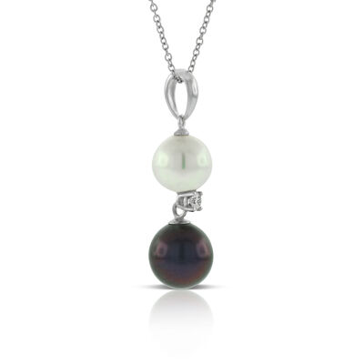 Cultured Freshwater Pearl, South Sea Tahitian Pearl & Diamond Pendant 14K