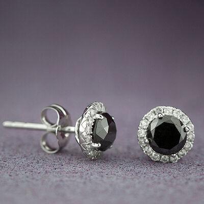 Black & White Diamond Earrings 14K
