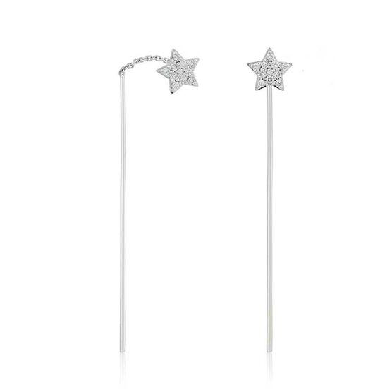 Diamond Star Threader Earrings 14K