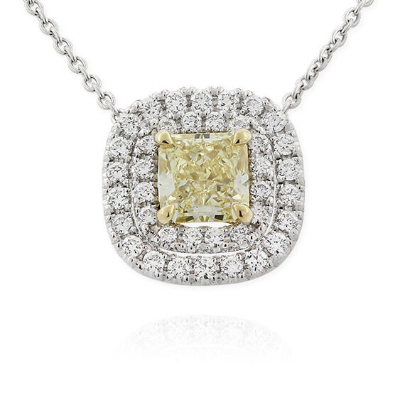 Radiant Cut Yellow & White Diamond Halo Pendant 18K