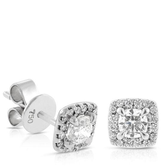Signature Forevermark Cushion Cut Diamond Halo Earrings 18K, 3/4 ctw.