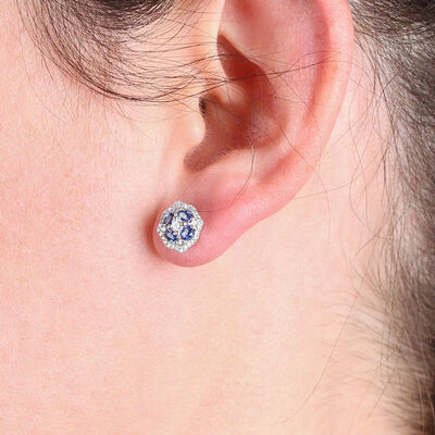 Floral Sapphire & Diamond Earrings 14K