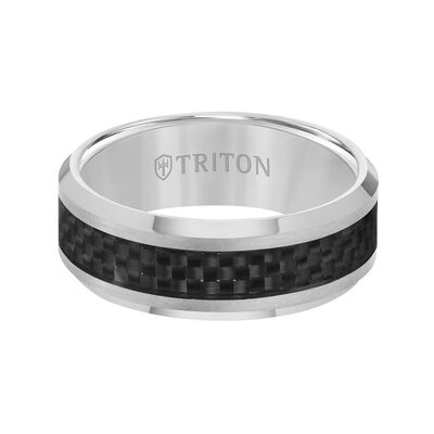 TRITON Contemporary Comfort Fit Carbon Fiber Band in Grey Tungsten, 8 mm