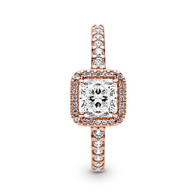 Pandora Rose™ Square Sparkle Halo CZ Ring