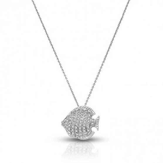 Roberto Coin Tiny Treasures Diamond Fish Necklace 18K