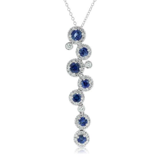 Sapphire & Diamond Cascade Pendant 14K