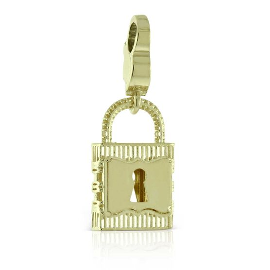 Toscano Square Lock Charm / Pendant 14K