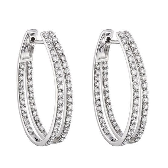 Double Diamond Hoop Earrings 14K
