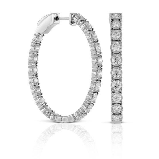 Diamond Oval Hoop Earrings 14K, 2.50 ctw.