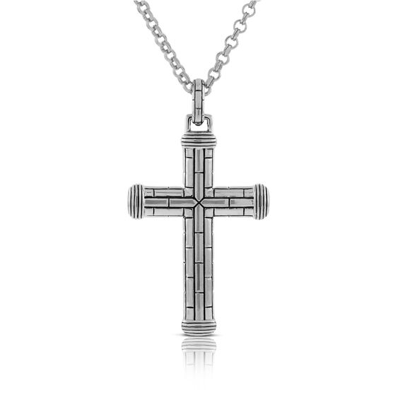 Men's Cross Necklace in Sterling Silver