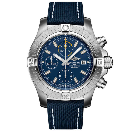 Breitling Avenger Chronograph 45 Blue Leather Watch, 45mm