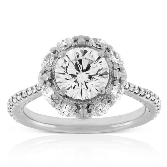 Signature Forevermark Diamond Halo Engagement Ring 18K