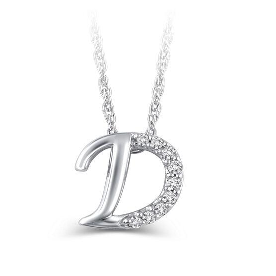 "Diamond ""D"" Initial Pendant 14K"