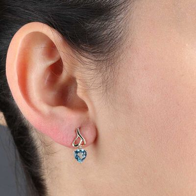 Blue Topaz Heart Earrings 14K