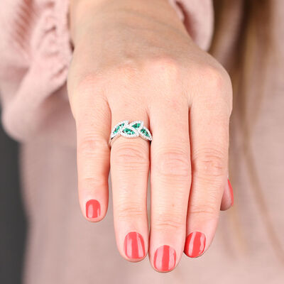 Emerald & Diamond Halo Leaf Ring 14K