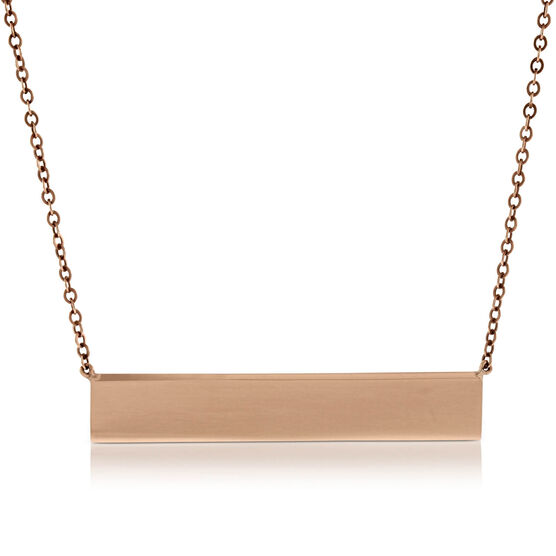 Rose Gold Engravable Bar Necklace 14K