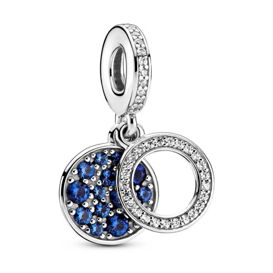 Pandora Sparkling Blue Disc Crystal & CZ Double Dangle Charm