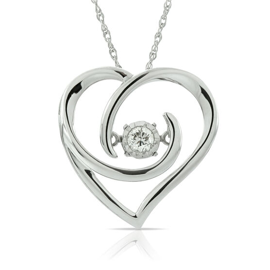 Love's Pulse Diamond Heart Pendant 14K
