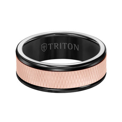 Rose Gold TRITON Custom Comfort Fit Criss Cross Band in Black Tungsten & 14K, 8 mm