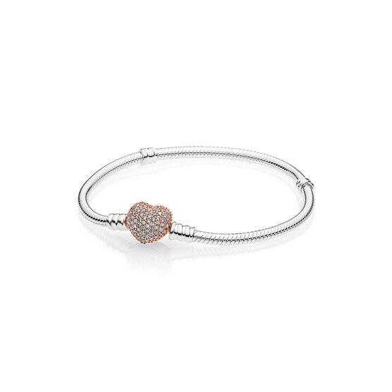 Pandora Silver Bracelet, Pandora Rose™ CZ Pavé Heart Clasp