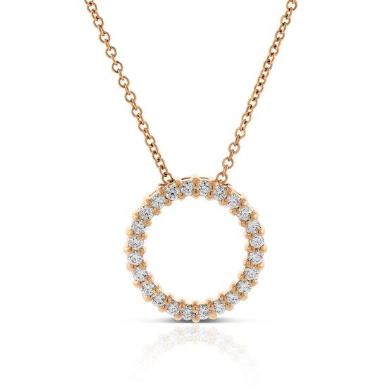 Rose Gold Diamond Circle Pendant 14K