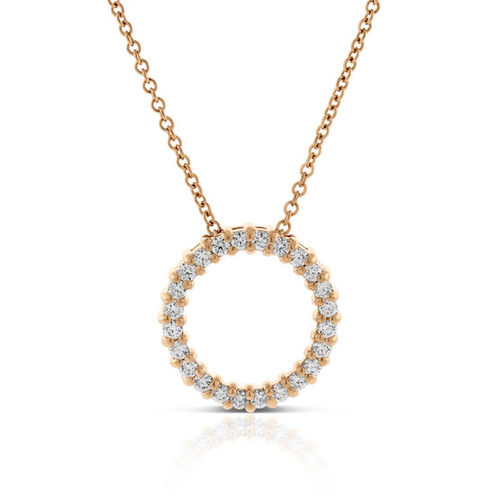 Rose Gold Diamond Circle Pendant 14K, 1/4 ctw.