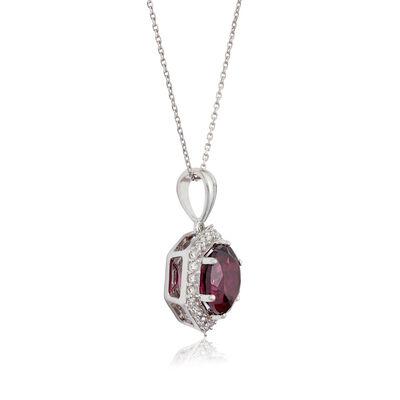 Purple Garnet & Diamond Hexagon Halo Necklace 14K