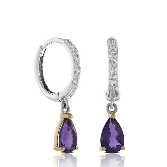 Rose Gold Two-Tone Pear-Shaped Amethyst & Diamond Earrings 14K