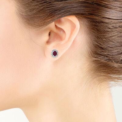 Oval Ruby & Diamond Halo Earrings 14K